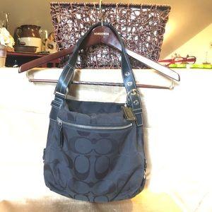 Coach signature icon bag black leather nylon EUC